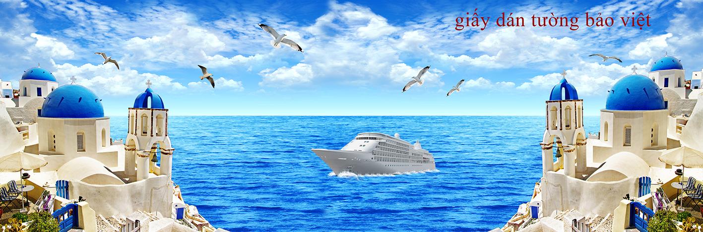 Thi công thực tế tranh dán tường 3D phong cảnh biển tại tphcm