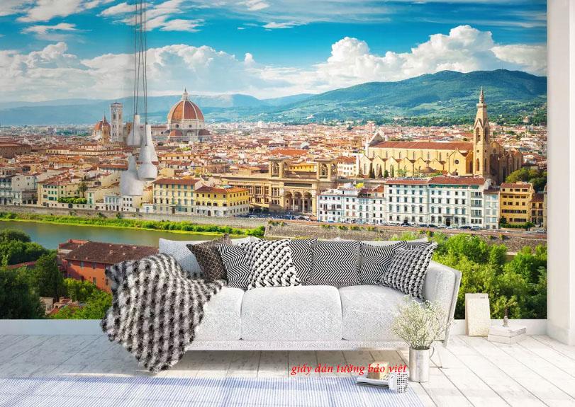 Giấy dán tường phòng khách cảnh thành phố châu âu