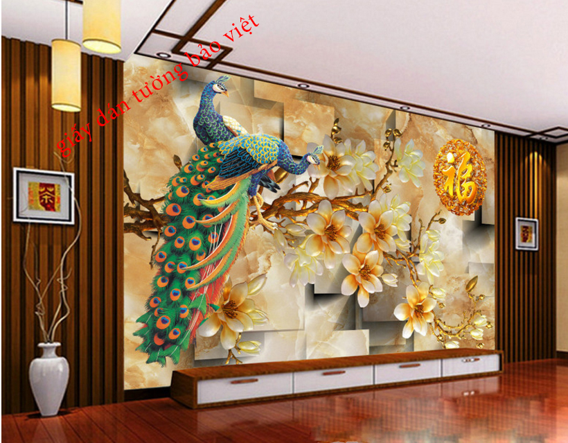 Giấy dán tường phòng khách 3d đẹp và sang trọng giá rẻ