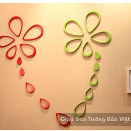 Dán Tường 3D-Họa tiết gỗ 3D hình giọt nước (có màu xanh và màu đỏ)