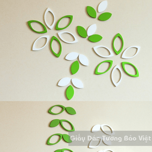 Dán Tường 3D-Họa tiết gỗ 3D hình lá (có xanh lá và trắng)