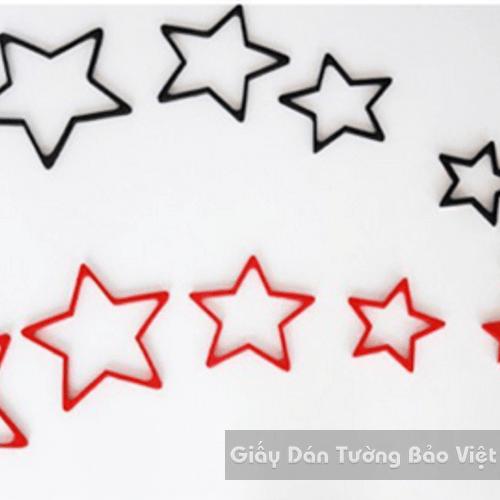 Dán Tường 3D-Họa tiết gỗ 3D hình ngôi sao (có đen, đỏ, trắng)