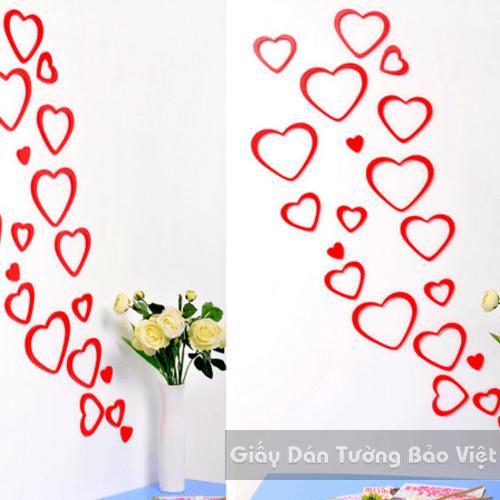 Dán Tường 3D-Họa tiết gỗ 3D hình trái tim (màu đen, xanh lá, xanh dương, đỏ, hồng)