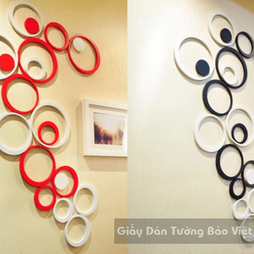 Dán Tường 3D-Họa tiết gỗ 3D hình tròn (có màu đỏ, đen, xanh lá, xanh dương , cam , hồng, trắng )