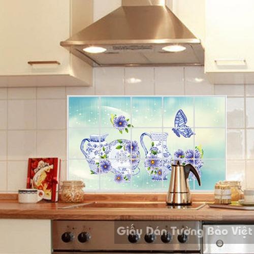 Dán Tường Bếp-Nhôm dán bếp chén dĩa xanh