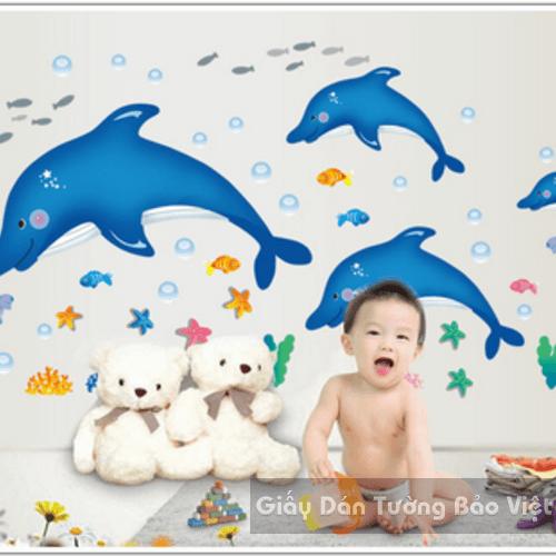 Dán Tường Phòng Tắm-Đàn cá heo to