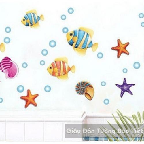 Dán Tường Phòng Tắm-Đàn cá xinh