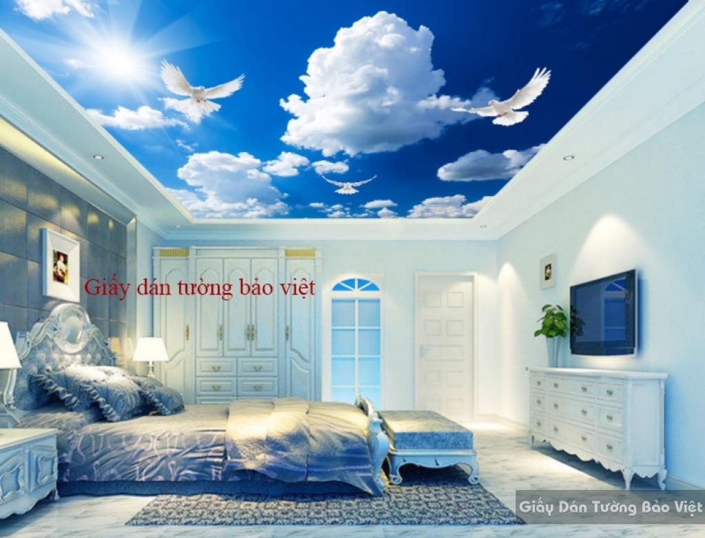 Giấy dán trần nhà bầu trời mây C055