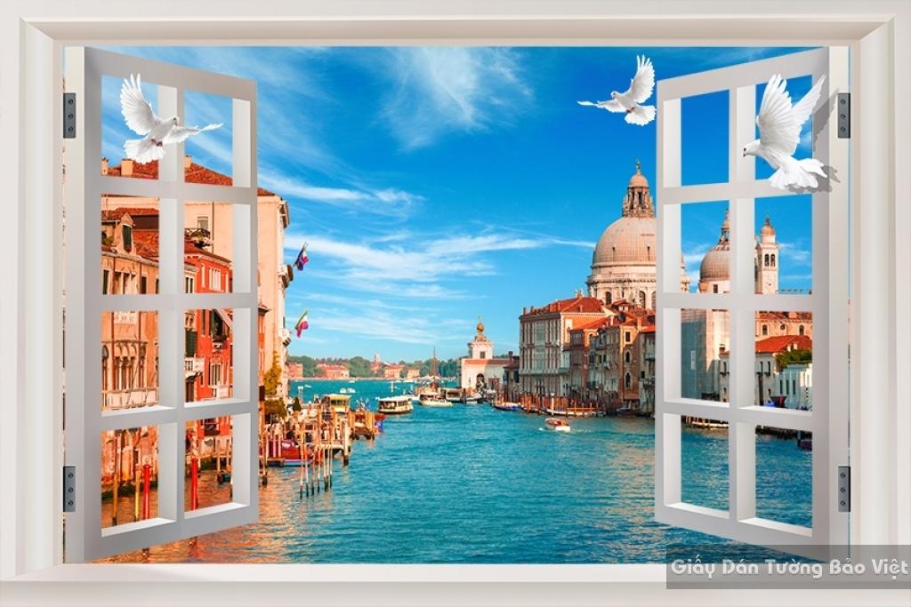 Giấy dán tường 3D cửa sổ Fm026
