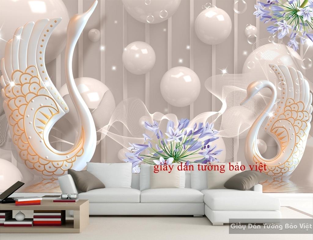 Giấy dán tường 3D giả ngọc đẹp FL070