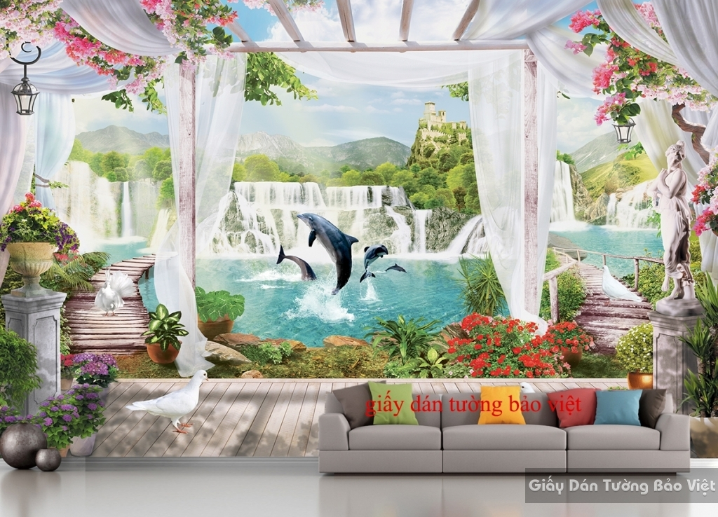 Giấy dán tường 3D phong cảnh đẹp S098