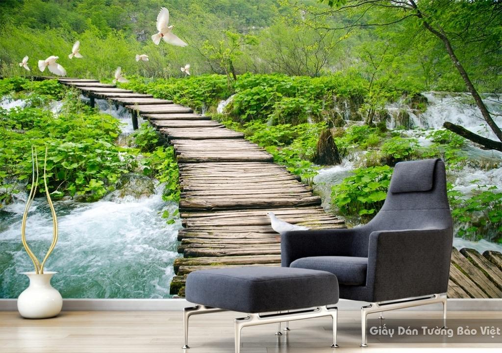 Giấy dán tường 3d thác nước W043