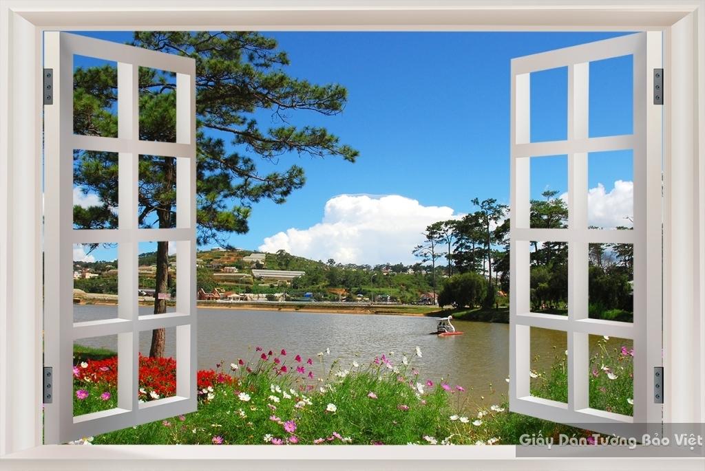 Giấy dán tường Phòng ngủ cửa sổ 3D Tr066