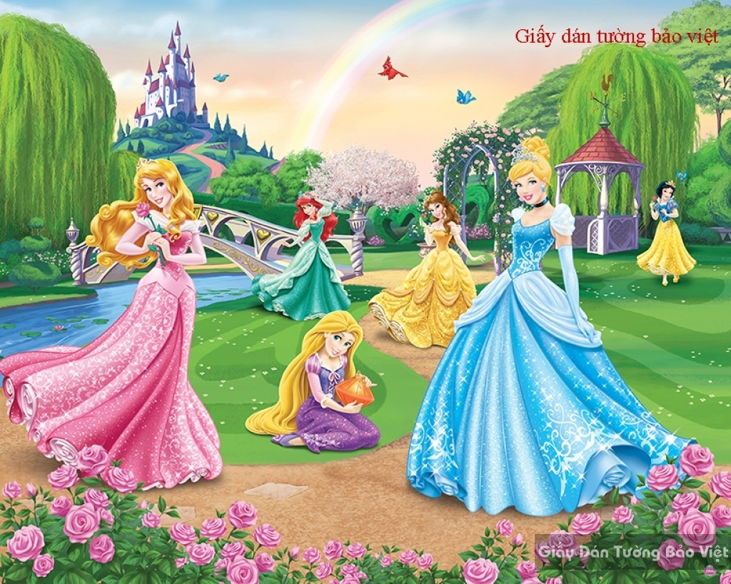 Giấy dán tường cho phòng bé gái hình công chúa Kid083