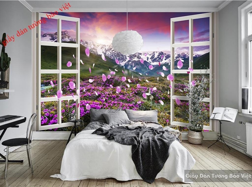 Giấy dán tường cho phòng ngủ màu tím H084