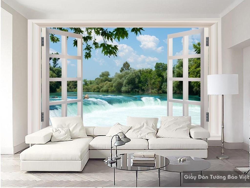 Giấy dán tường cửa sổ 3D thác nước W046