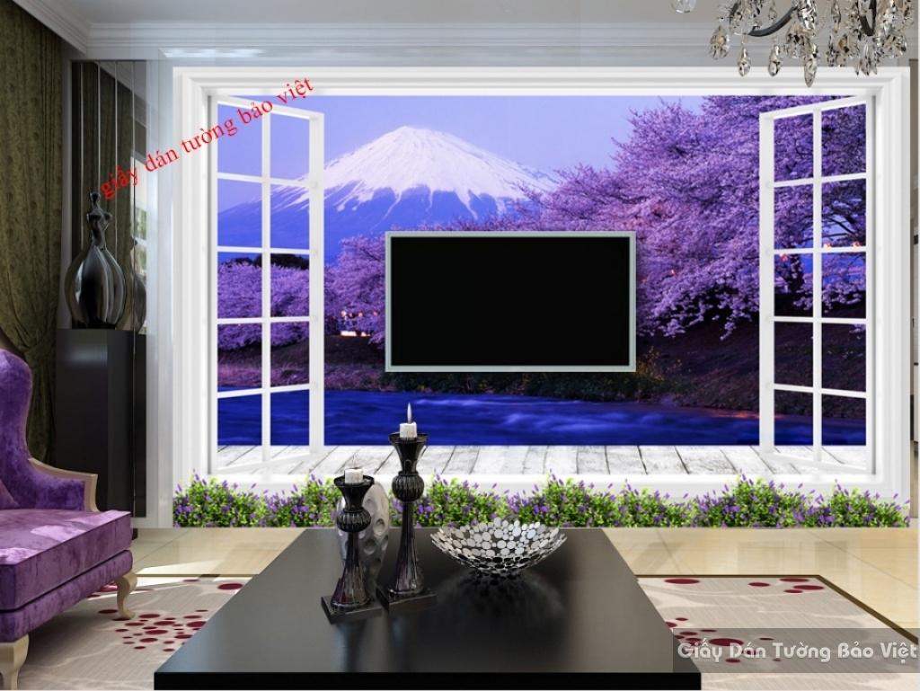 Giấy dán tường cửa sổ màu tím 3D K16160767