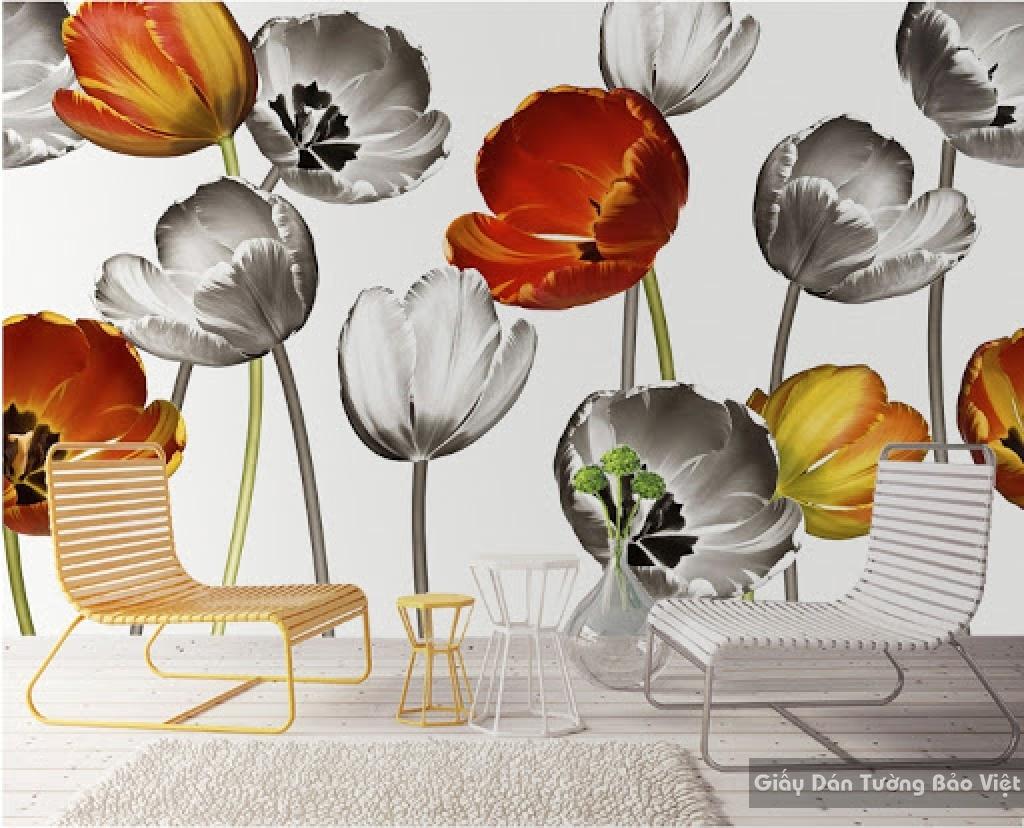 Giấy dán tường hoa 3D-018