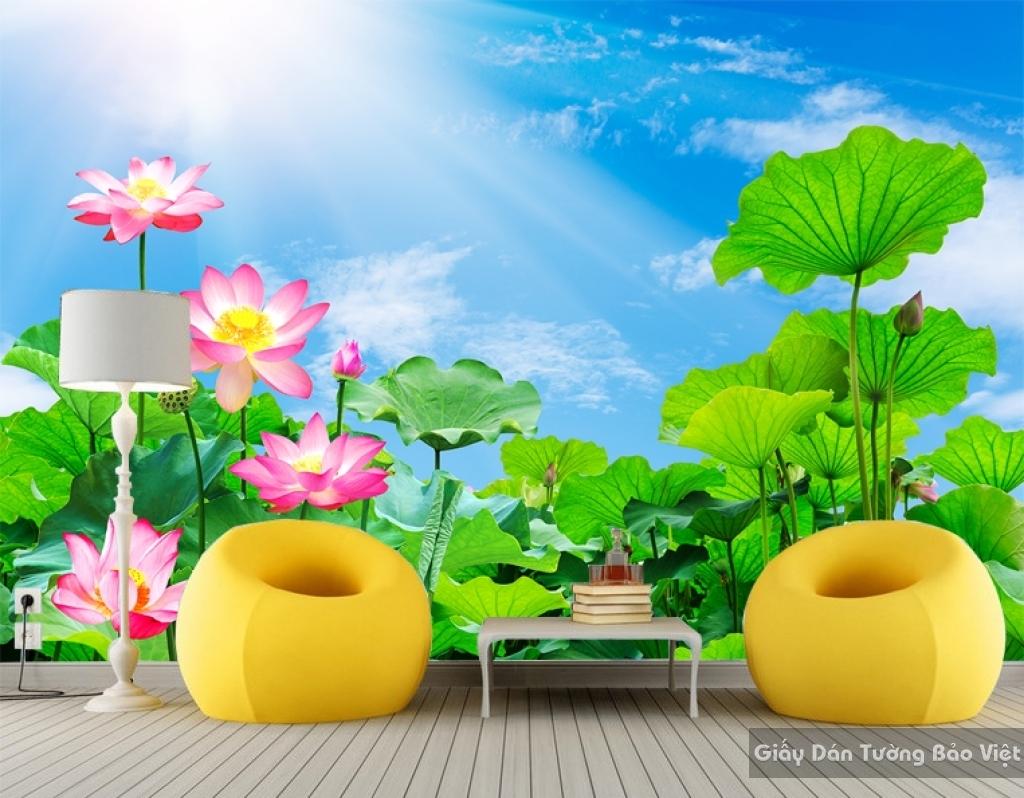 Giấy dán tường hoa sen 3D H070