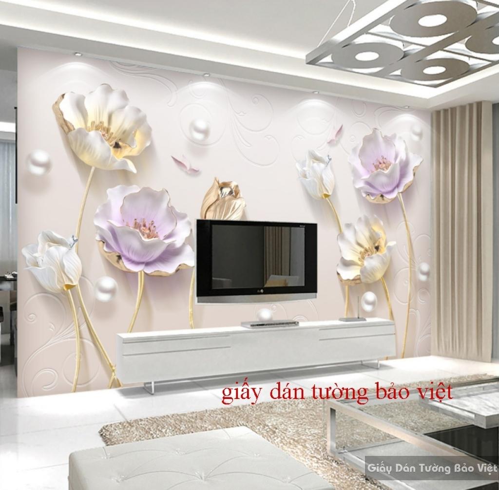 Giấy dán tường hoa sen 3D K16431488