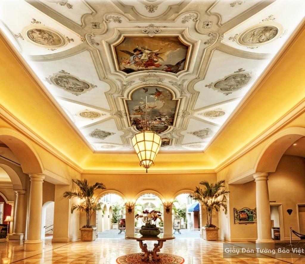 Giấy dán tường phòng khách dán trần nhà C012