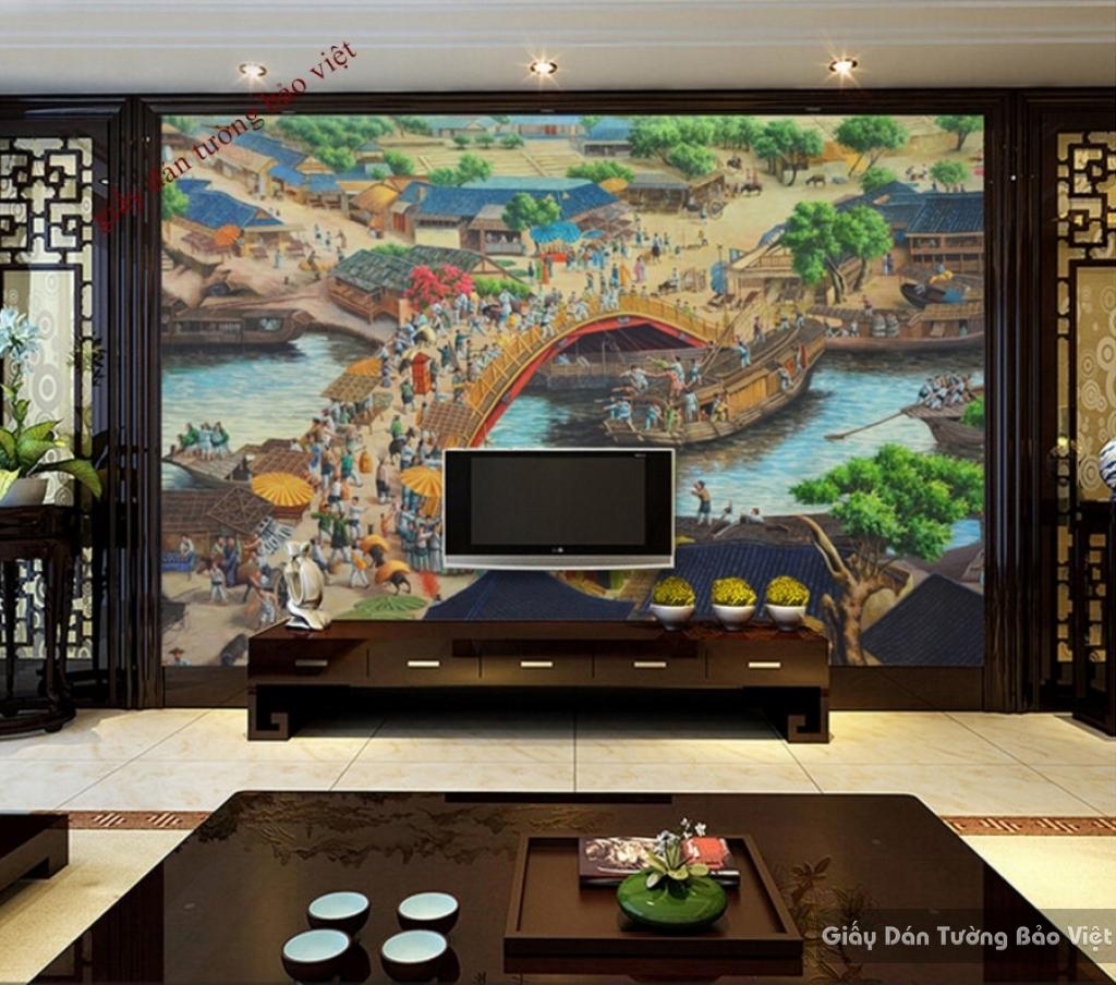 Giấy dán tường phòng khách đẹp K14219260