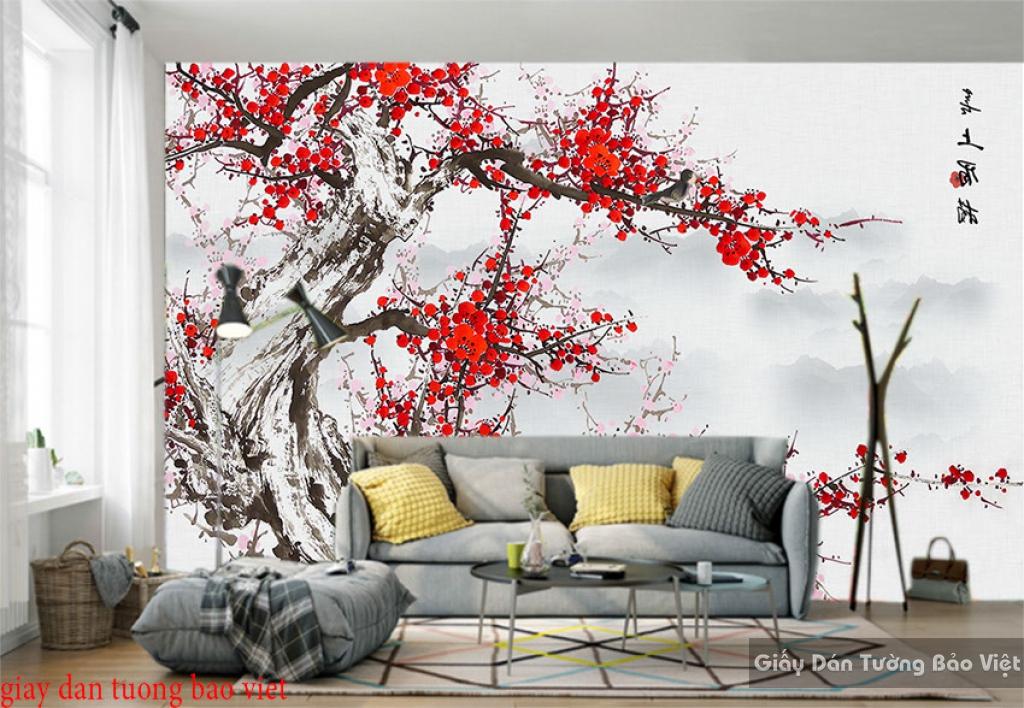 Giấy dán tường phòng khách hoa đào h209
