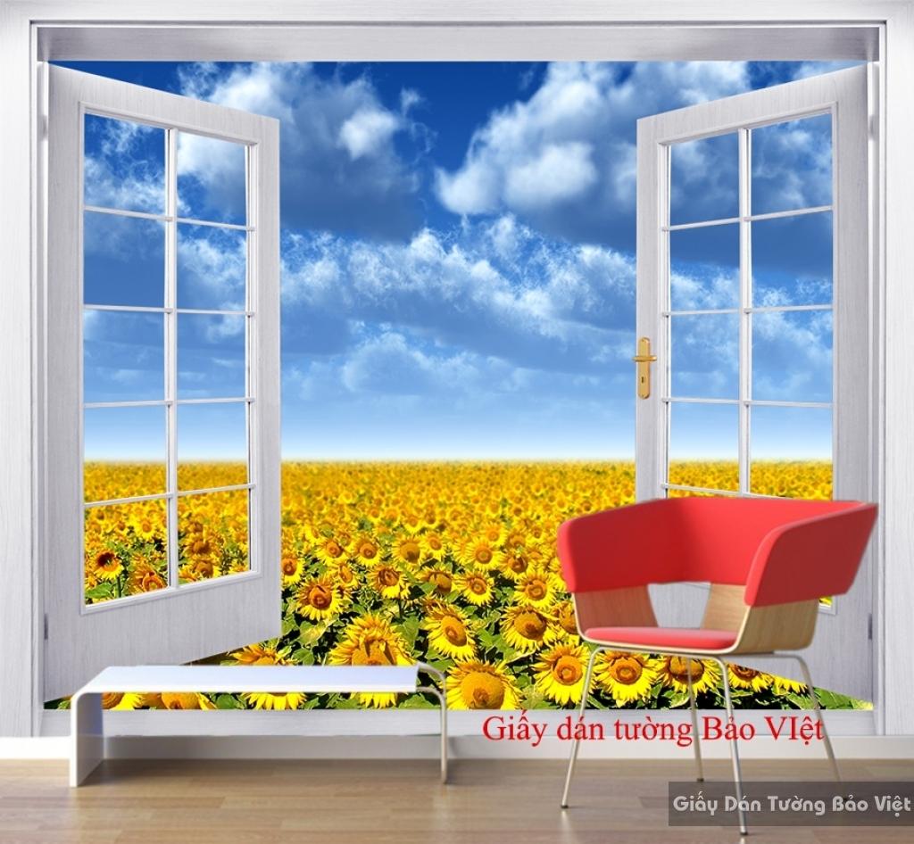 Giấy dán tường phòng khách hoa hướng dương H123