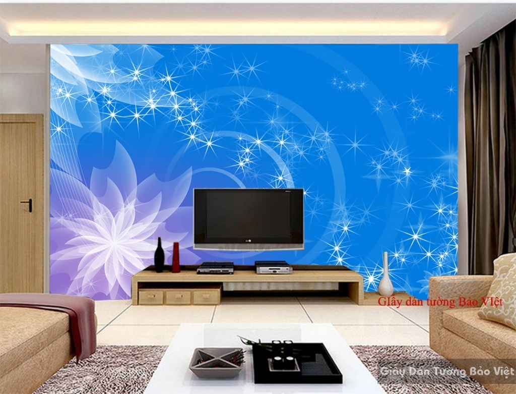Giấy dán tường phòng khách màu xanh FM193