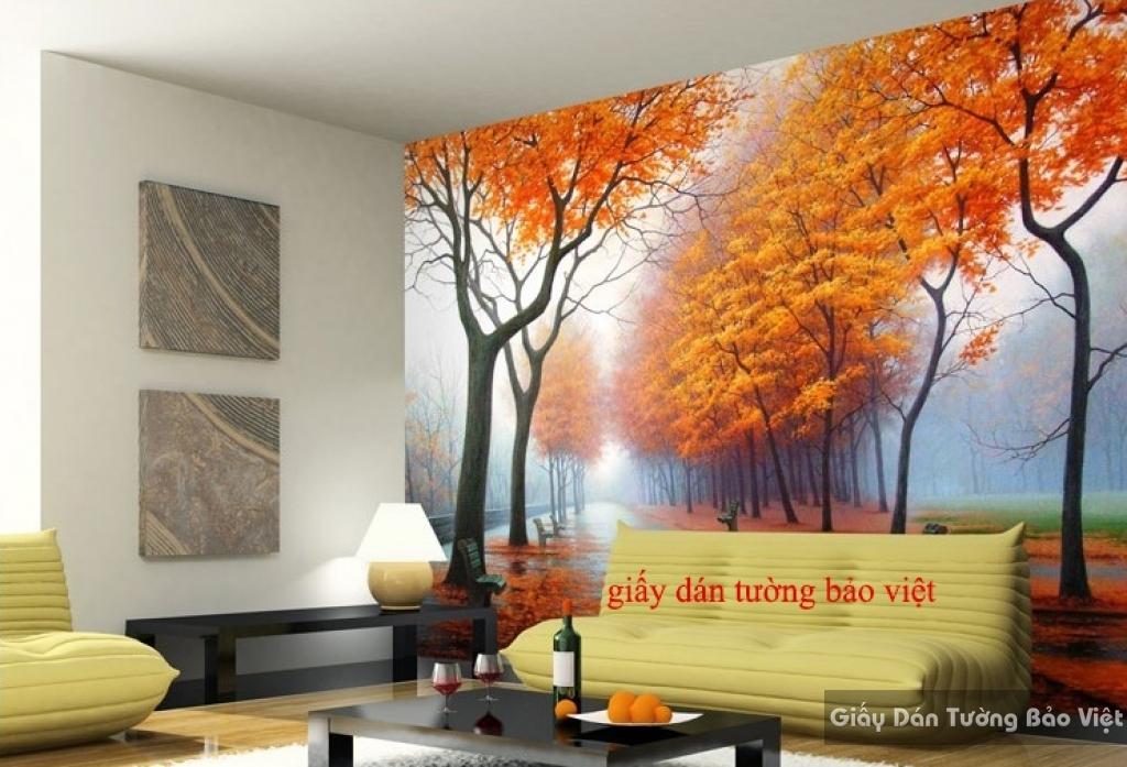 Giấy dán tường phòng khách mùa thu Tr132