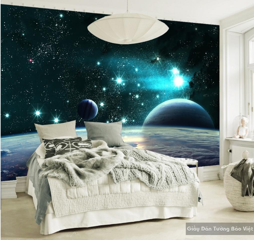 Giấy dán tường phòng ngủ 3D galaxy G001