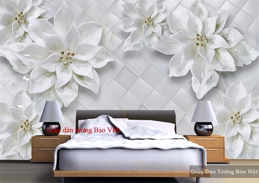 Giấy dán tường phòng ngủ 3D giả ngọc FL088