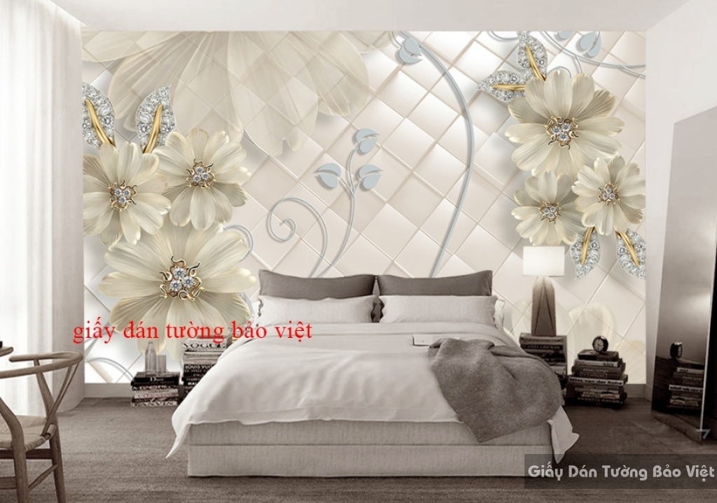 Giấy dán tường phòng ngủ giả ngọc 3D k16481141