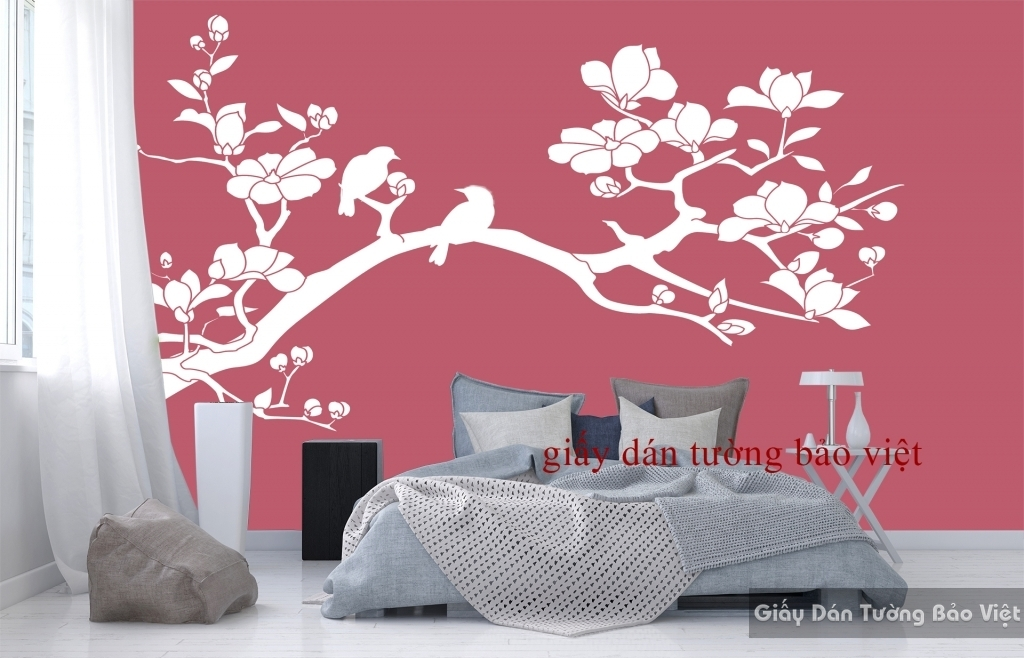 Giấy dán tường phòng ngủ màu hồng H089