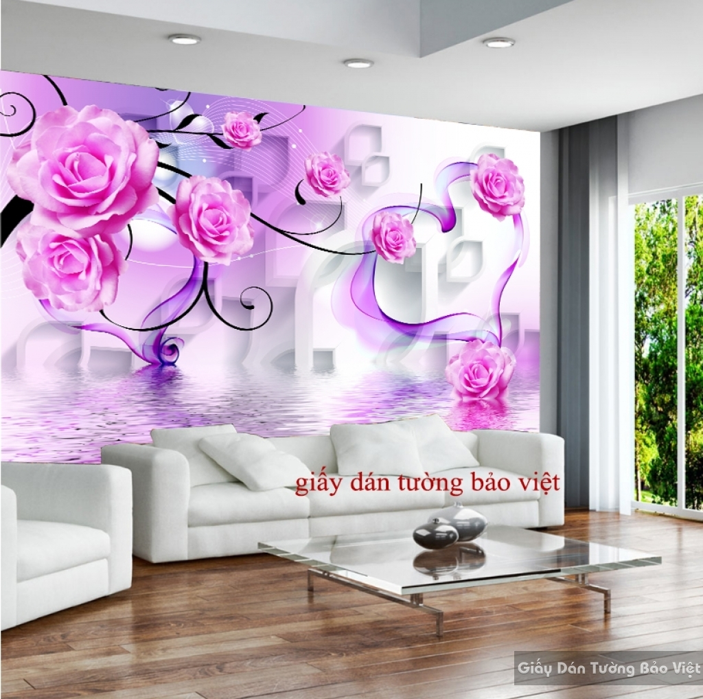 Giấy dán tường phòng ngủ màu tím 3D-027