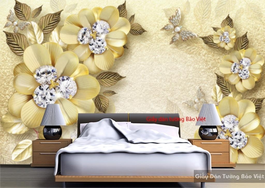 Giấy dán tường phòng ngủ màu vàng K16237912
