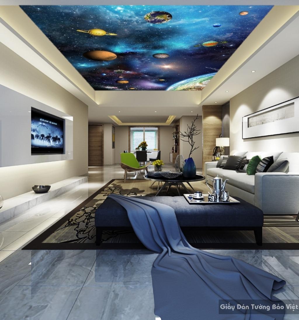 Giấy dán tường phòng ngủ trần nhà 3d C017