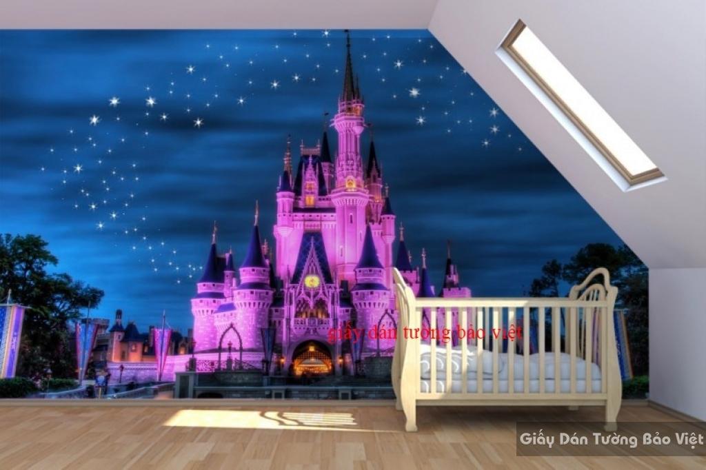 Giấy dán tường trẻ em hình lâu đài kid060