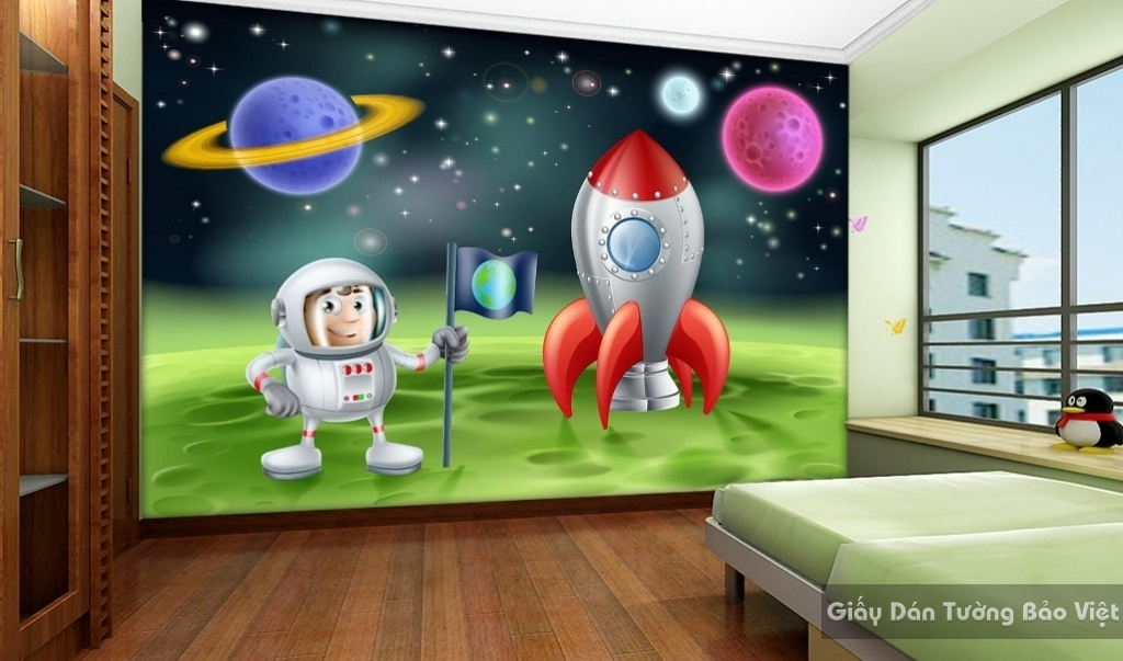 Giấy giấy dán tường phòng trẻ em 3D kid002