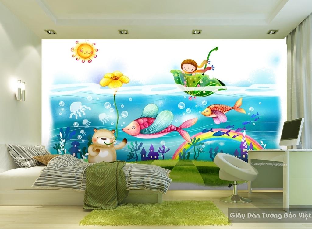 Giấy giấy dán tường phòng trẻ em 3D kid016