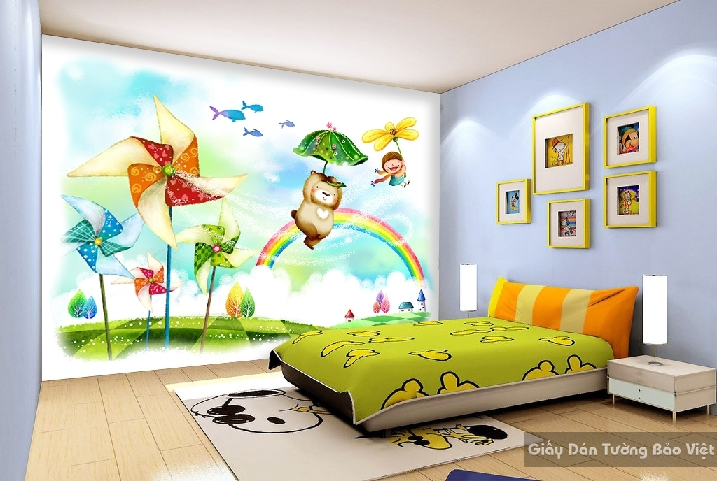 Giấy giấy dán tường phòng trẻ em 3D kid017