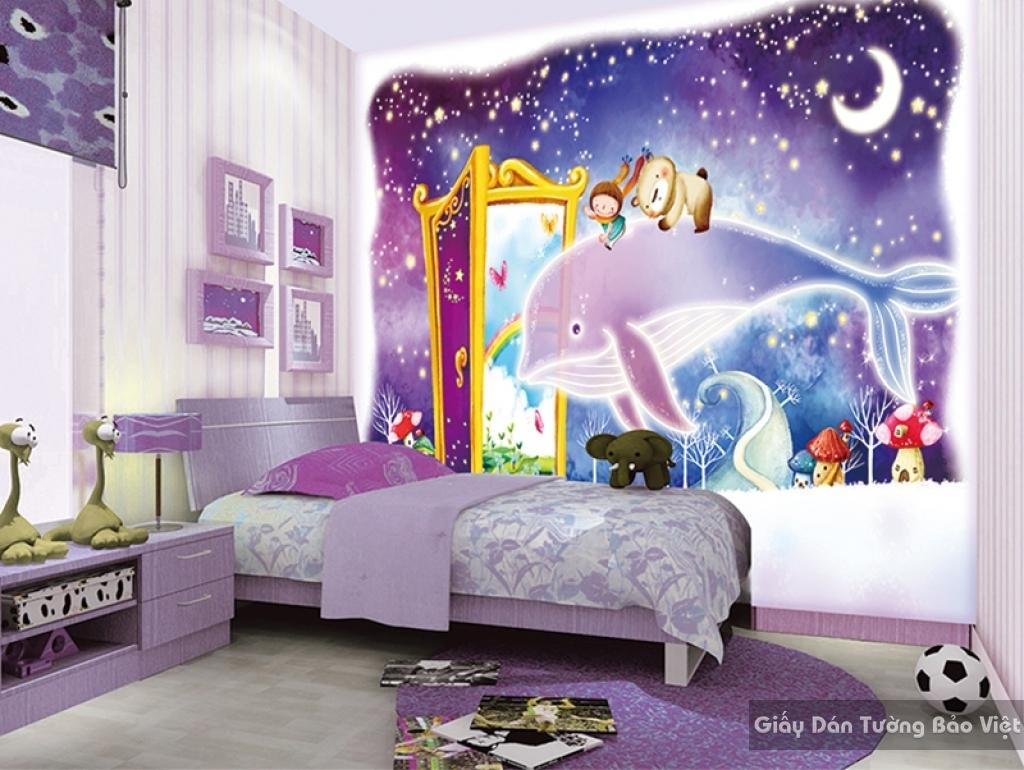 Giấy giấy dán tường phòng trẻ em 3D kid018