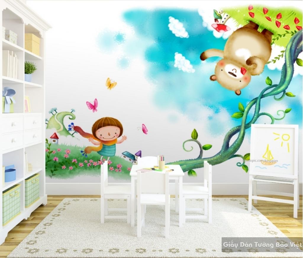 Giấy giấy dán tường phòng trẻ em 3D kid019