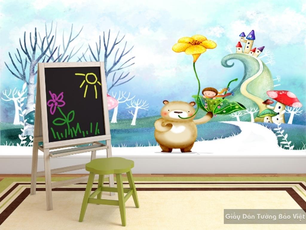 Giấy giấy dán tường phòng trẻ em 3D kid020