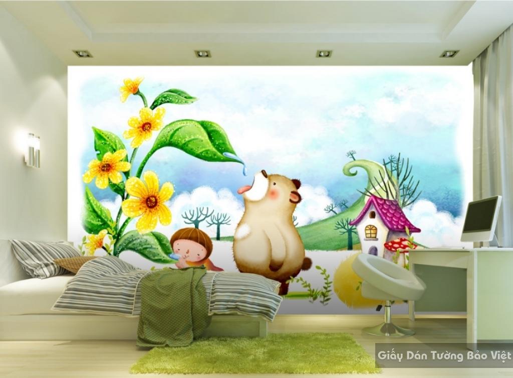 Giấy giấy dán tường phòng trẻ em 3D kid021