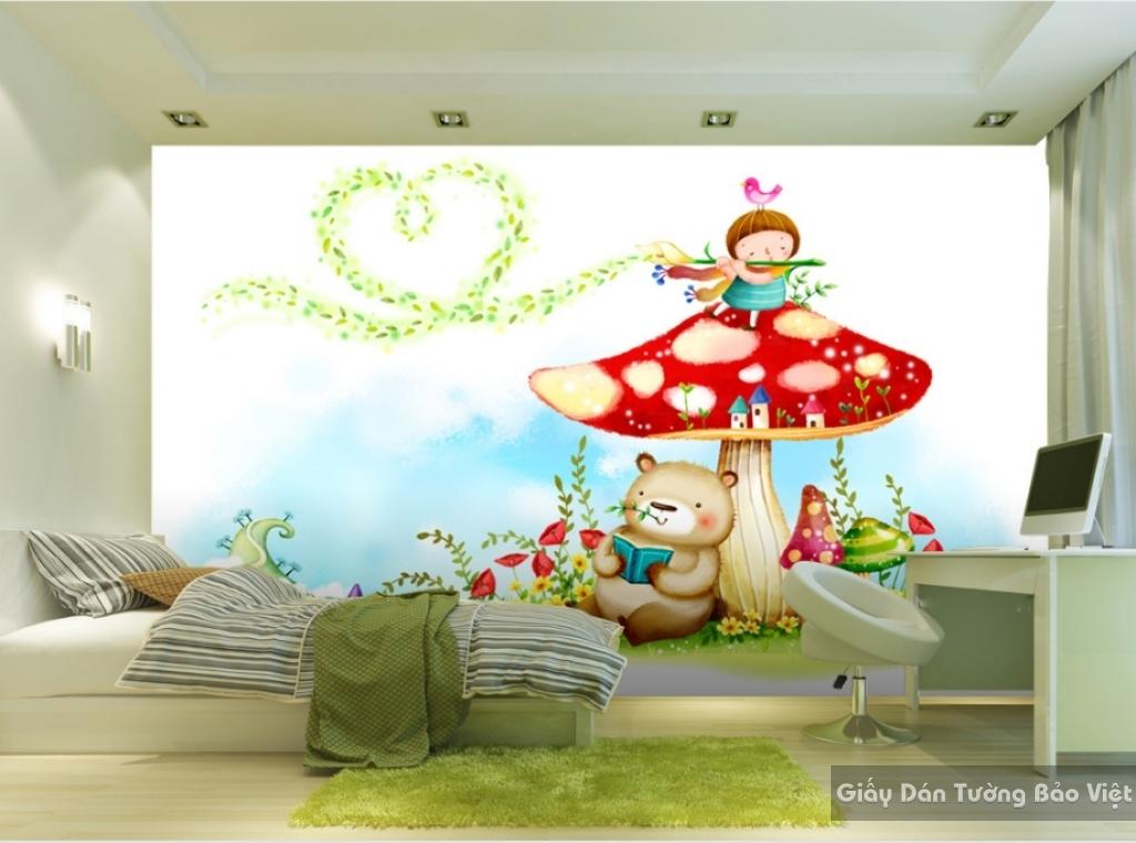 Giấy giấy dán tường phòng trẻ em 3D kid022
