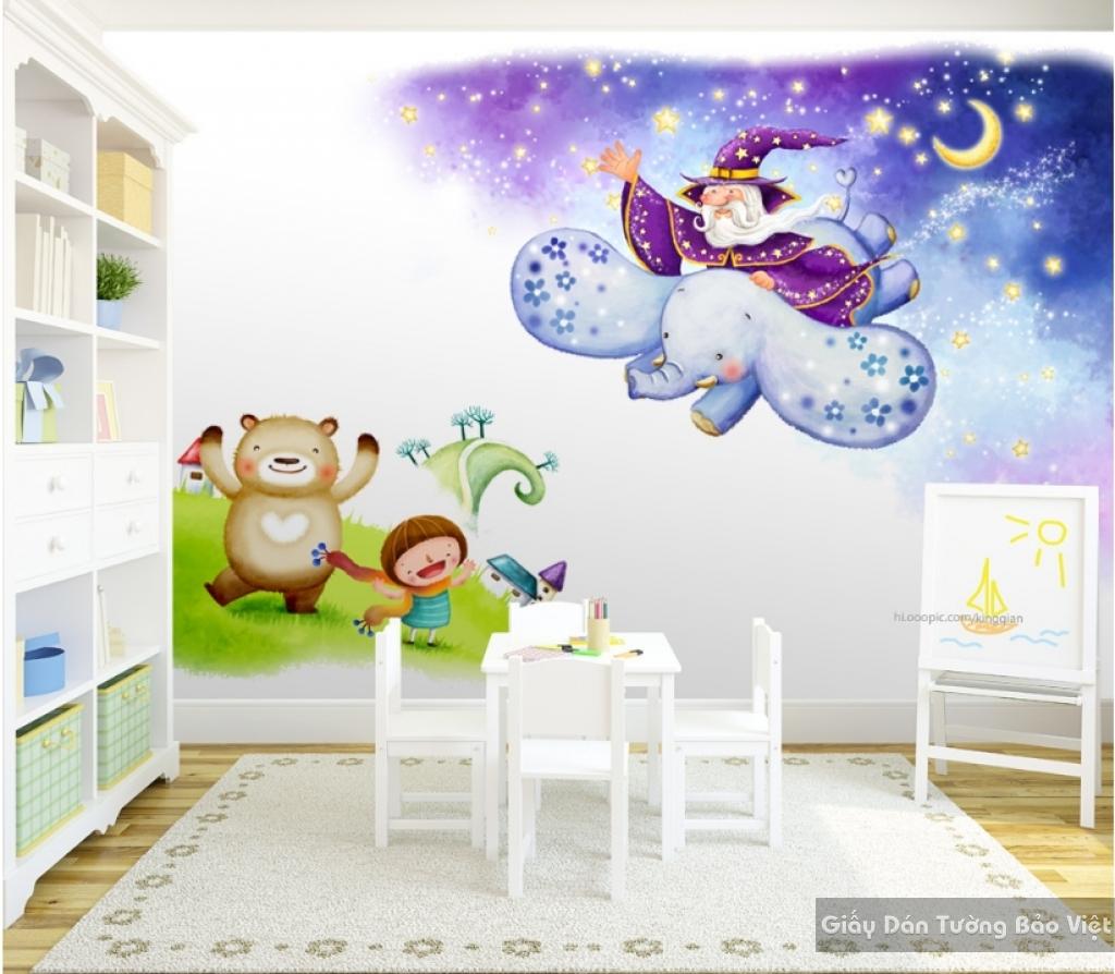 Giấy giấy dán tường phòng trẻ em 3D kid024