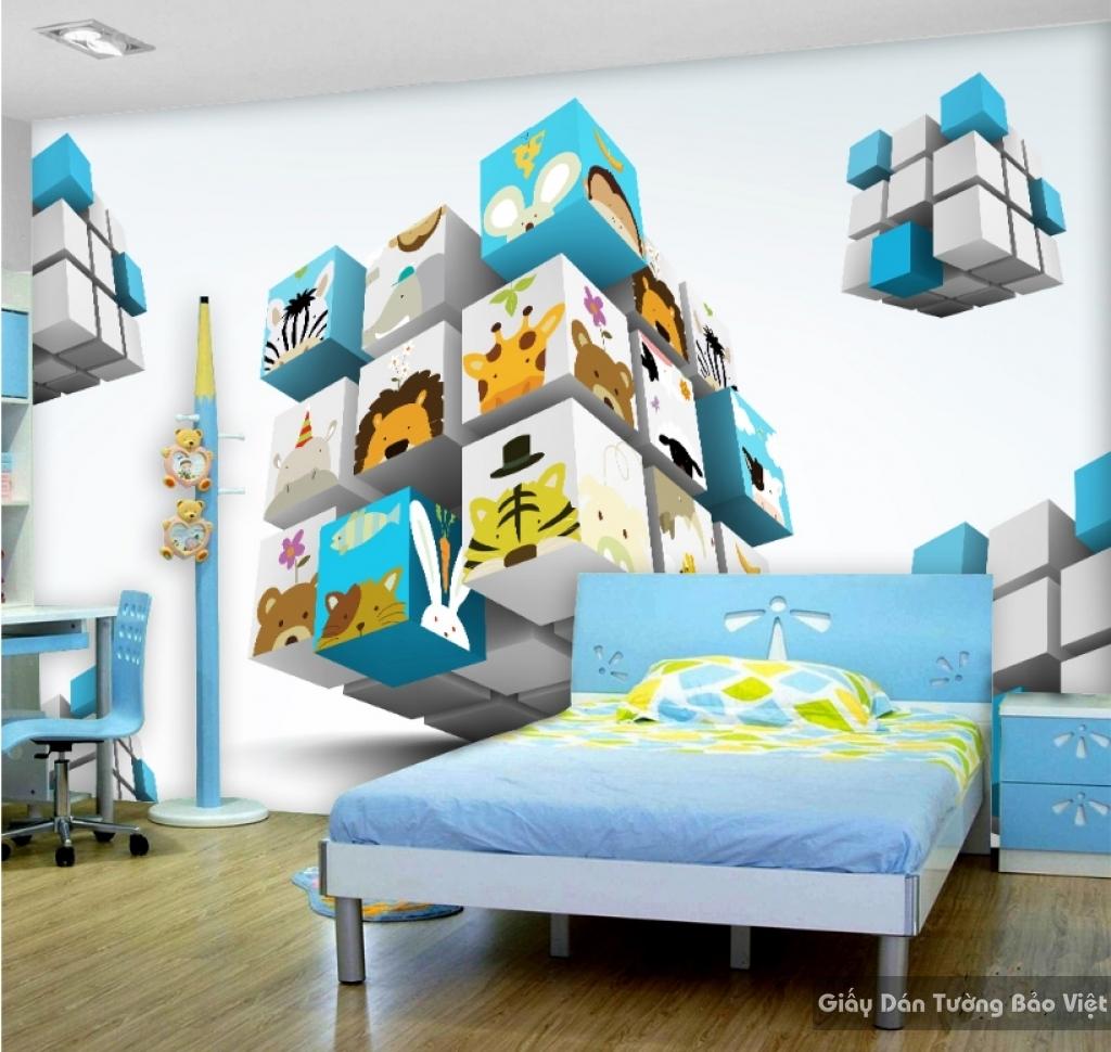 Giấy giấy dán tường phòng trẻ em 3D kid025
