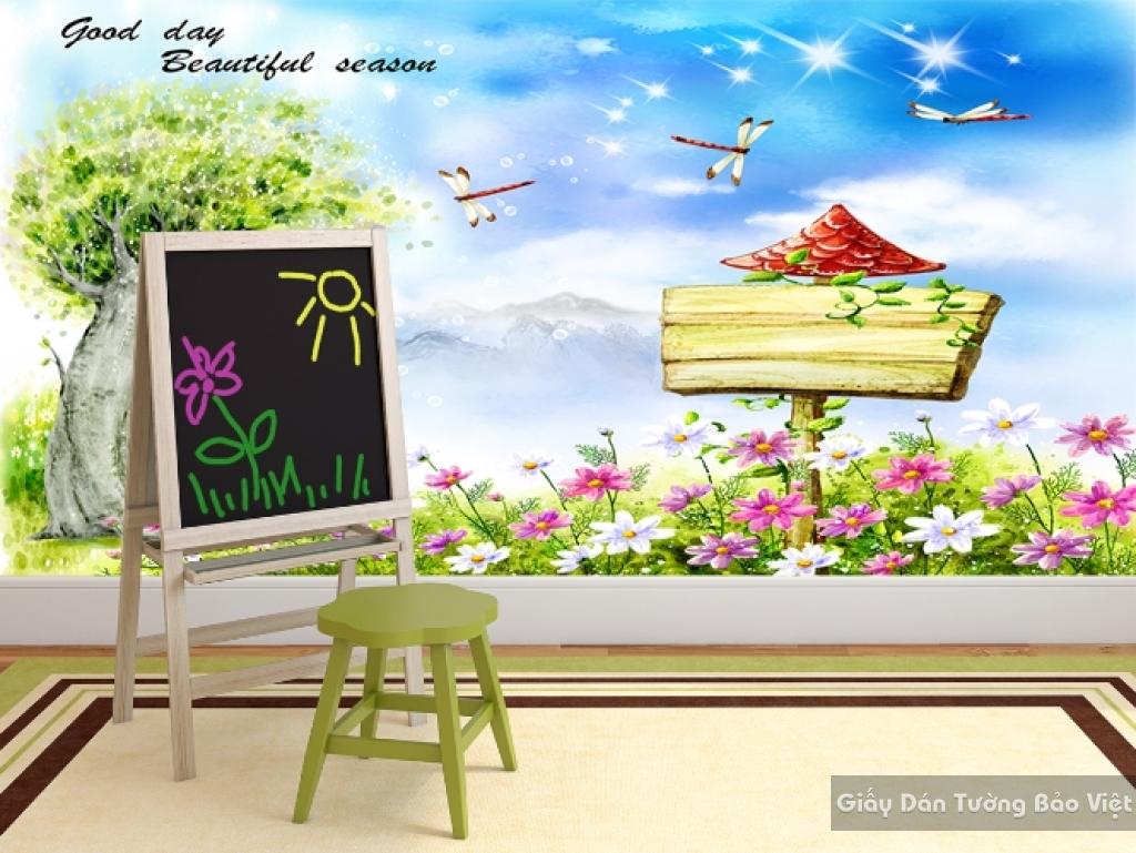 Giấy giấy dán tường phòng trẻ em 3D kid030
