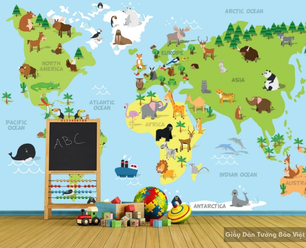 Giấy giấy dán tường phòng trẻ em 3D kid032